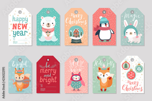 Wall mural Christmas gift tags set with cute characters,