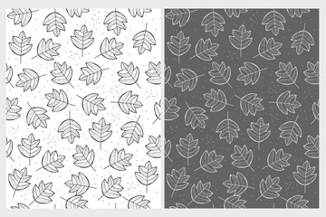 Lovely Abstract Leaves Repeatable Vector Pattern. Black Leaves on a White Background. White Leaves on a Gray. Subtle Design. Cute Hand Drawn Bright Illustration..