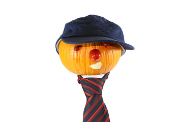 pumpkin businessman in a cap and tie