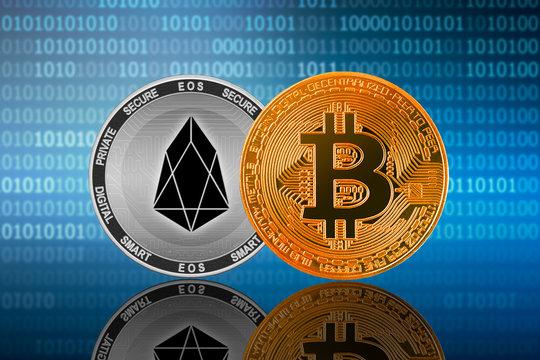 Bitcoin (BTC) and EOS coin on the binary code background; bitcoin vs eos