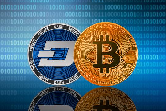 Bitcoin (BTC) and DASH coin on the binary code background; bitcoin vs dash