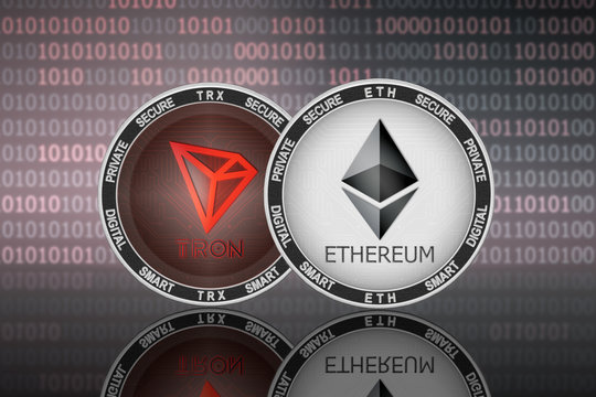 Ethereum (ETH) and TRON (TRX) coins on the binary code background; ethereum vs tron