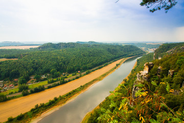 View from old Bastei bridge down on river Elbe in Saxony,Germany