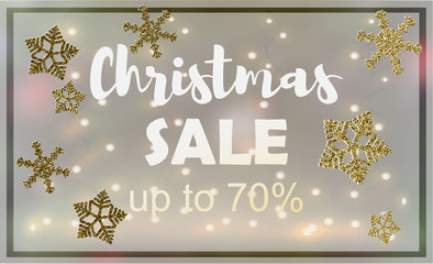 Christmas sale. Vector banner with hand lettering text and decorative elements. esp 10