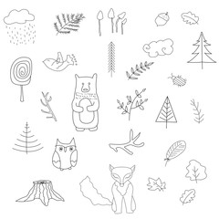 Scandinavian forest set of elements.