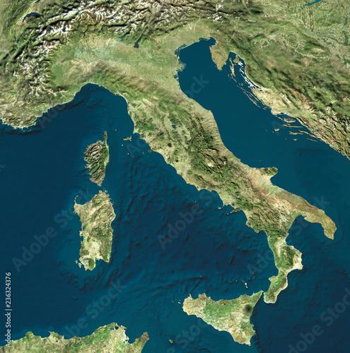 Vista Satellitare Dellitalia Cartina Fisica Italiana Rilievi