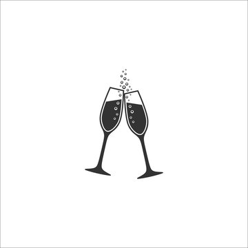 Two champagne glasses with bubbles vector icon. Sparkling wine toast glasses celebration icons.