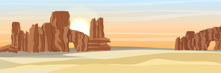 Desert with stone rocks and yellow sand. Landscapes of Africa and Australia. Sahara. Realistic Vector Landscape