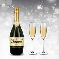 Vector Realistic green with gold label Champagne bottle and glasses with sparkling white wine isolated on white shine background. Happy new year and mary christmas illustration 2019