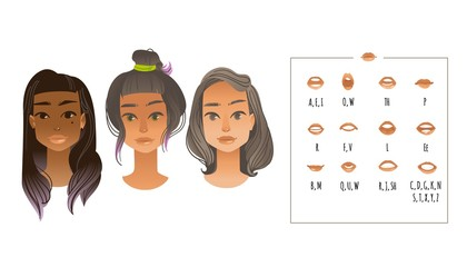 Vector illustration of lip sync collection for mouth animation of various young beautiful girl faces. Female portrait ready for animation in flat cartoon style isolated on white background.