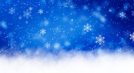 Blue sparkling background with stars. Blue bokeh background with snowflakes. Empty winter background, snowy, celebratory.
