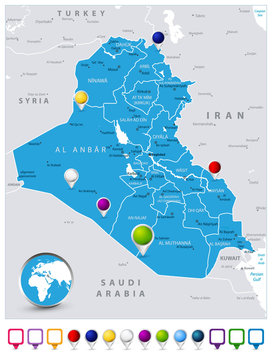 Iraq Map and map icons