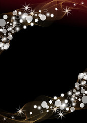 Abstract black background, bokeh vertical holiday background with sparkles for Christmas or New Year and Wedding or premium fashion. Vector