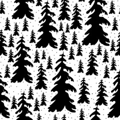 Vector Illustration. Seamless Doodle christmas tree icon. Winter trees background for design