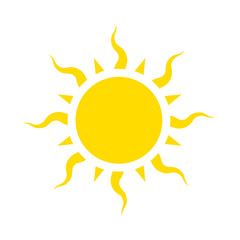 Icon sun with curved beams, vector flat illustration.