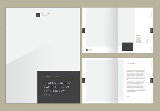 Catalog Layout with Gray and Gold Accents