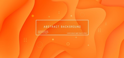 Vector abstract background with orange wave motion flow, geometric elements. Modern style presentation template commercial poster layout dynamic creative advertisement banner wallpaper with text space
