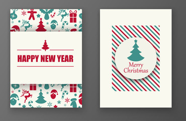 Merry Christmas and Happy New Year cards with colorful holiday pattern.