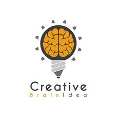 Vector Creative Idea Brain Pencil Lamp Pen Design Logo template.