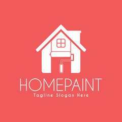 Vector Home Paint Service logo design template. Paint roller and Home. White color.