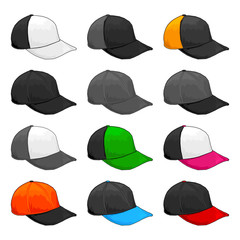 Black Cap, Vector Variety of color Combinations caps Template