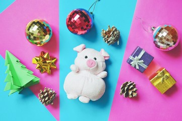 Flat lay Chinese New Year decoration. Symbol 2019 soft toy pig