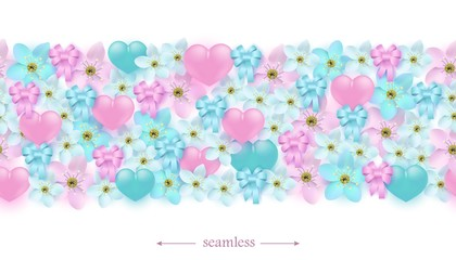 Hearts, flowers and ribbon bows horizontal seamless border pattern. Ornaments with romantic love and friendship elements for holiday design in realistic vector illustration.