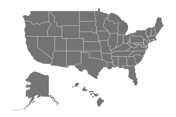 Map of United States of America (USA) with states, Alaska and Hawaii. Vector illustration isolated on white background