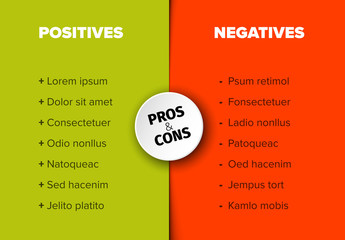 Pro and Con Comparison Table Layout