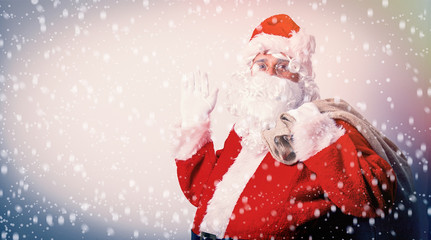 Funny Santa Claus with sack on white background