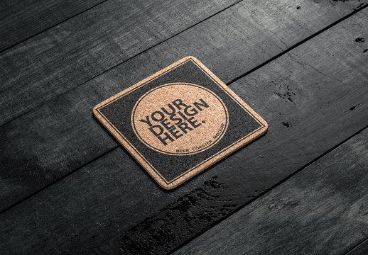 Branded Cork Coaster Mockup