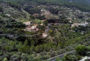 hillside Banyalbufar town on west coast of Mallorca. Spain