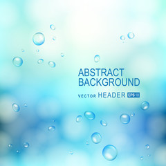 Abstract background with water drops on glass. Vector Illustration