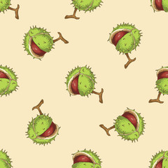 Seamless Pattern with Horse Chestnut. Aesculus