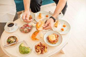 Breakfast in hotels from a variety of very beautiful and colorful dishes. Appetizers, main dishes and desserts