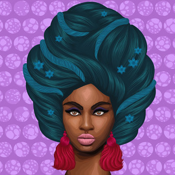 Vector portrait of a African girl with green hair with interlacing decor and flowers. Close-up face fashion model with earrings tassels in draped headscarf on the head. Turquoise background with circl