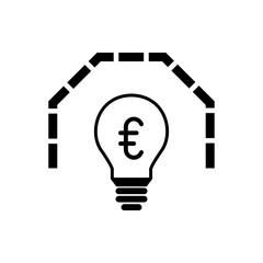 Glühbine mit Mauer und € - Icon, Symbol, Piktogramm, grafisches Element - outline - schwarz - Hintergrund weiß - Vektor