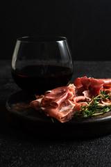 Red wine and prosciutto