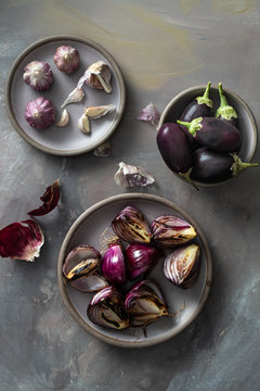 Onions and garlic and eggplant