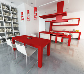 Red and white loft
