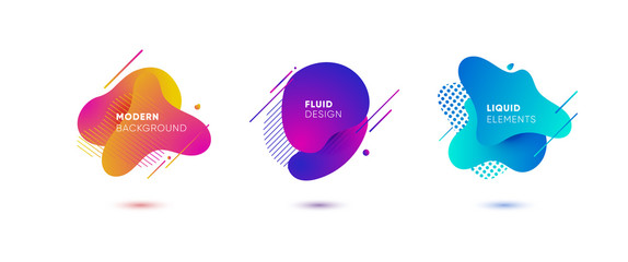 Dynamical colored graphic elements. Gradient abstract banners with flowing liquid shapes. Template for the design of a logo, flyer or presentation. Vector illustration.