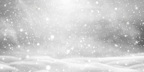 Falling Christmas beautiful snow with snowdrifts isolated on transparent background. Grey shiny poster with winter landscape, wind, blizzard. Snowflakes, snow background. Heavy snowfall, snowflakes. Wall mural