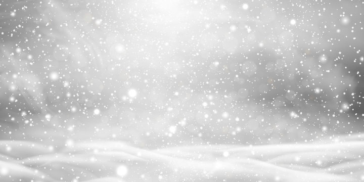 Falling Christmas beautiful snow with snowdrifts isolated on transparent background. Grey shiny poster with winter landscape, wind, blizzard. Snowflakes, snow background. Heavy snowfall, snowflakes.