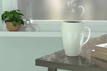 3d render coffee cup near window relax time blue wall
