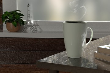 3d render coffee cup near window relax time
