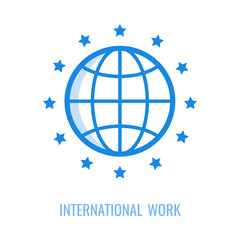 Vector illustration line icon of symbol of international work of general data protection regulation isolated on white background - outline pictogram of EU stars around abstract globe.
