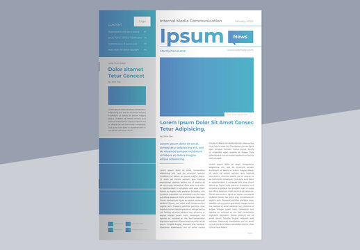 Business Newsletter Layout with Blue Gradient Accents