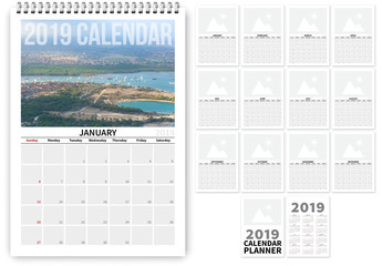 2019 Calendar Layout with Photo Elements