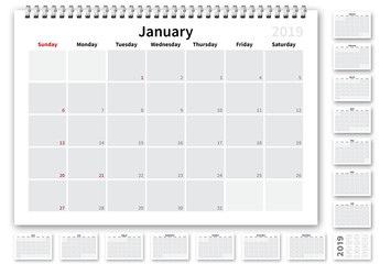 2019 US Calendar Layout