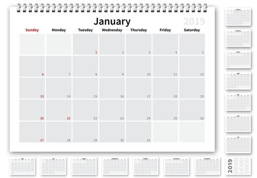 2019 US Calendar Layout
